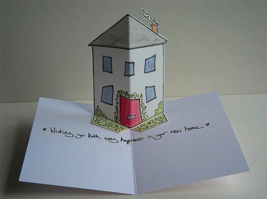 открытка объемная домик как